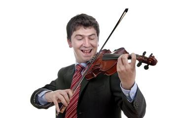 Violin player man isolated on a white background