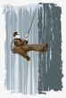 roleta: mountain -climber on the wall, illustration