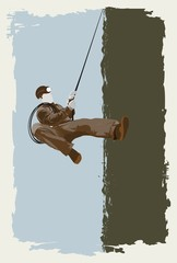 mountaineer on the wall,illustration