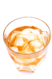 Transparent glass with a Drink - Whisky on rocks . poster