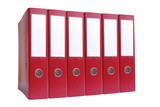 Row of six red ring binders over white background poster