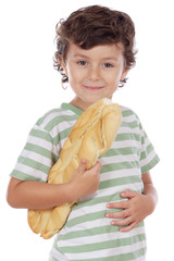 Child with bread under the arm a over white background