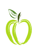Fototapety An illustration of green apple made with paint brush