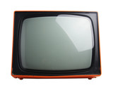 face on view of retro orange television