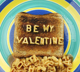 the words be my valentine, spelled out with spaghetti letters poster