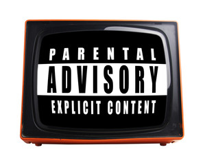 parental advice warning on screen of retro orange television