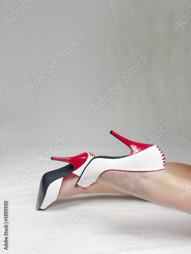 rot weisse open toe Pumps