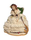 Romantic porcelain doll with a mandolin. poster