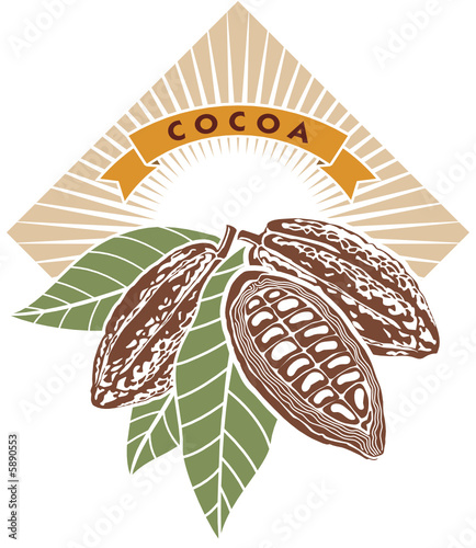 Label with cocoa beans and green leaves.
