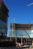 over view of condominium / hotel construction site 2 poster