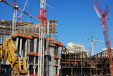 over view of condominium / hotel construction site 1 poster