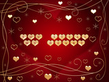 3d golden hearts, red text - you steal my heart, flowers, stars poster