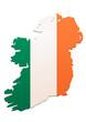 Carte de l'Irlande (Drapeau)
