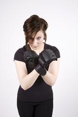 Brunette Kick Boxer Serious Stance