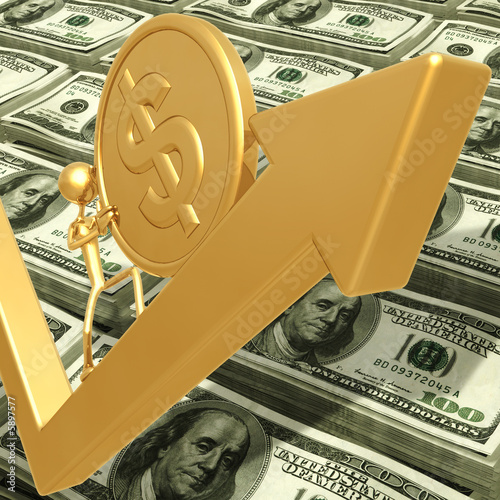 Pushing Up A Gold Coin On Business Growth Market Arrow