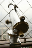 telescope at the top of eiffel tower in paris poster