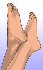 female bare feet pointing into the air