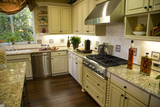 Luxury kitchen with a modern gas stove. poster