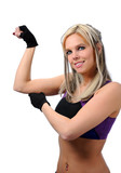 Beautiful young woman flexing arm poster