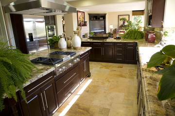 Luxury kitchen with a modern gas stove.