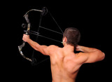 Young archer with bow and arrow aiming high poster