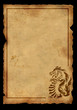 Sheet of ancient parchment with the image of a dragon
