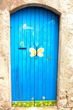 picturesque blue door with painted butterfly of a home poster