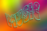 Wavy music word with staff over colorful gradient background poster