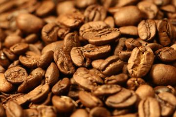 very hot big black coffee beans macro