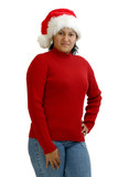 Hispanic Woman in Holiday Attire poster