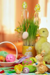 Beauty of easter duckling with easter eggs and chicken