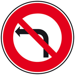 Panneau : Interdiction de tourner à gauche