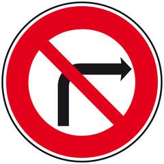 Panneau : Interdiction de tourner à droite
