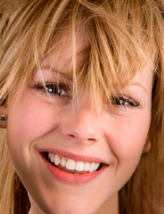 Close-up of a Blonde Girl with Messy Hair
