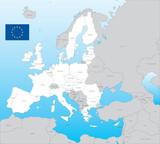 Eu vector map, with flag