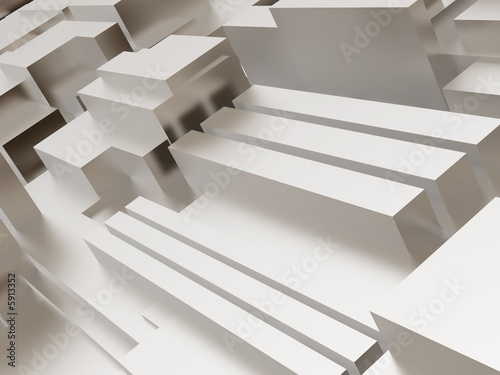 Abstract metallic cubic surface