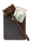 legal concept with us dollar, old book and gavel poster