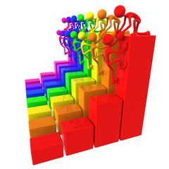 Full Spectrum Teamwork Help Up Business Bar Graphs