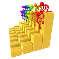 Full Spectrum Teamwork Help Up Golden Business Bar Graphs