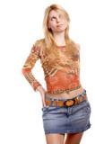 Blonde long-haired girl in skirt on white background. poster