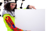 funny joker at a presentation with blank board poster