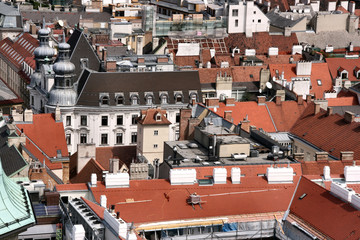 Vienna - city roofs seen from the top of Stephansdom tower