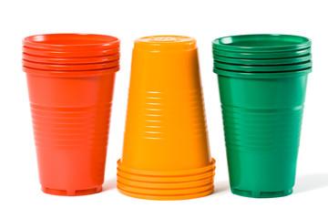 Multi-coloured disposable plastic glasses