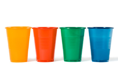Multi-coloured disposable plastic glasses