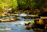 Water rushing among rocks in river rapids in Ontario Canada poster