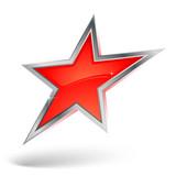 étoile rouge avec contour métal poster