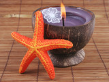 Spa and beauty products - candle and starfish. poster