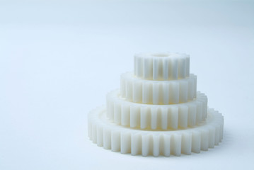 cog wheels in white
