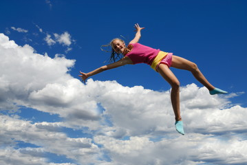 Pink jumping girl