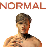 young man face expression - Normal  - 3d render image poster